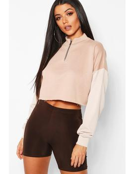 Colour Block Tonal Cropped Sweat by Boohoo