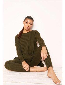 Anya Khaki Knit Jumper Loungewear Set by Missy Empire