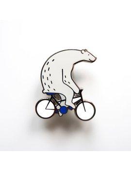 Polar Bear On Bike Pin Hard Enamel // Lapel Pin Brooch Biker // Cute Animal Pin by Etsy