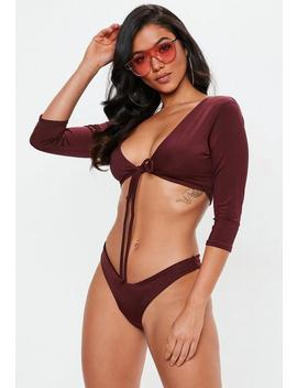 Burgundy Tie Front Long Sleeve Bikini Top by Missguided