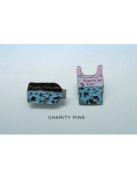 Charity Pin | Set Of 2 Pins | Plastic Pollutes + Plastic Kills Enamel Pin | Environment Marine, Sea Life by Etsy