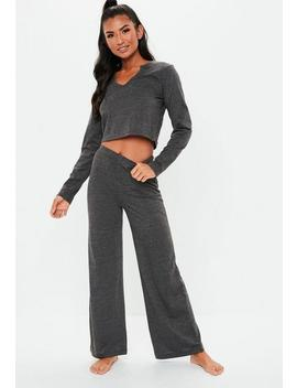 Dark Gray Notch Front Flared Leg Lounge Set by Missguided