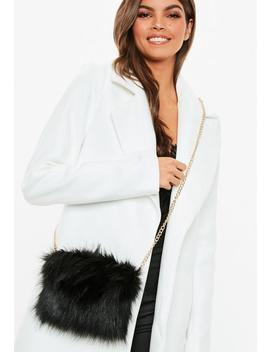 Black Faux Fur Cross Body Bag by Missguided