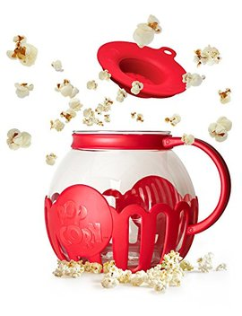 Ecolution Micro Pop Microwave Popcorn Popper 3 Qt   Temperature Safe Glass W/Multi Purpose Lid, Family Size, Red by Ecolution