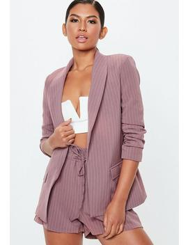 Mauve Pinstripe Ruched Sleeve Blazer by Missguided