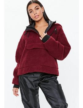 Red Cropped Overhead Borg Teddy Jacket by Missguided