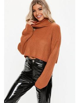 Rust Roll Neck Cropped Knitted Sweater by Missguided