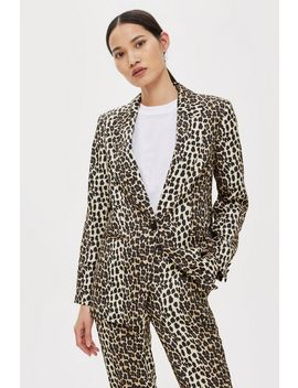 Petite Brown Leopard Print Suit Jacket by Topshop