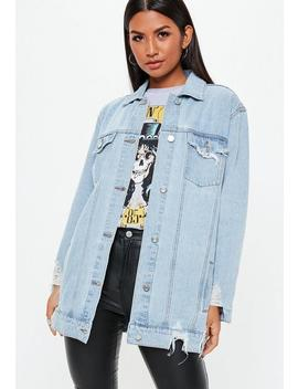 Blue Longline Distressed Denim Jacket by Missguided