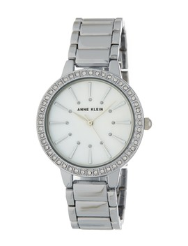 Women's Round Case Silver Tone Bezel Crystal Bracelet Watch, 34mm by Anne Klein