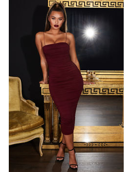 Keep It Simple Ruched Bandeau Midaxi Dress In Dark Red by Oh Polly