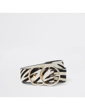 White Leather Pony Zebra Print Ring Belt by River Island