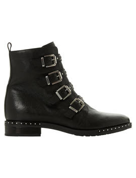 Dune Pixxel Studded Ankle Boots, Black Leather by Dune