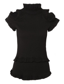 Dreaming Of You Ruffled Cutout Ribbed Knit Top by Maggie Marilyn
