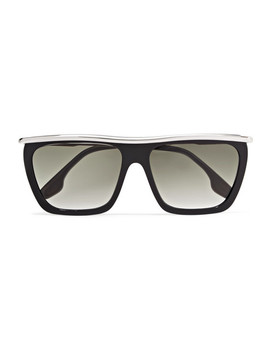 D Frame Acetate And Silver Tone Sunglasses by Victoria Beckham