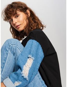 Bluzka Z Jeansowymi Rękawami by Reserved