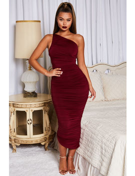 Cold Shoulder Asymmetric Ruched Midaxi Dress In Dark Red by Oh Polly