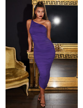 Cold Shoulder Asymmetric Ruched Midaxi Dress In Purple by Oh Polly