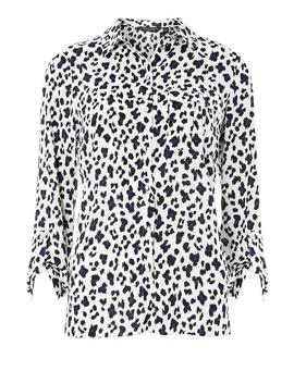 Multi Colour Leopard Print Roll Sleeve Shirt by Dorothy Perkins