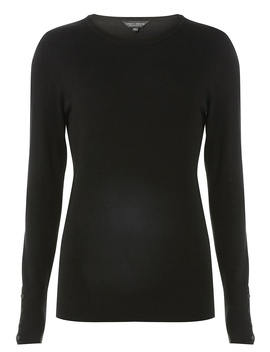 Black Buttoned Cuff Jumper by Dorothy Perkins