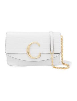 Chloé C Mini Leather Trimmed Croc Effect Shoulder Bag by Chloé