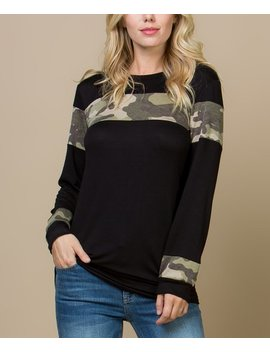 Black & Camo Contrast Top   Women by Zulily
