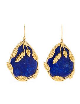 Françoise Gold Plated Lapis Lazuli Earrings by Aurélie Bidermann