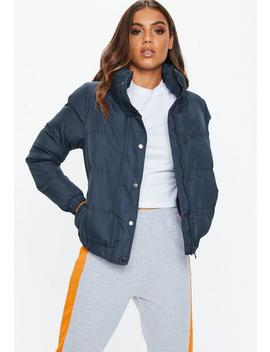 Navy Puffer Jacket by Missguided