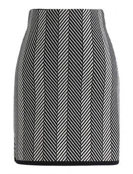 Rather Be Slant Stripes Knit Bud Skirt In Black by Chicwish