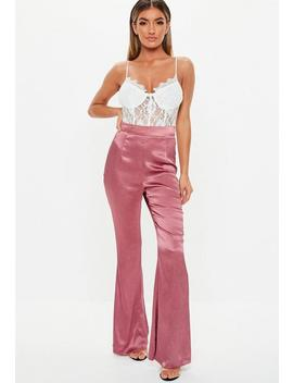 Rose Satin Pleated Flare Trousers by Missguided