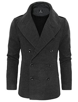 Tom's Ware Men's Stylish Large Lapel Double Breasted Pea Coat by Tom%27s+Ware