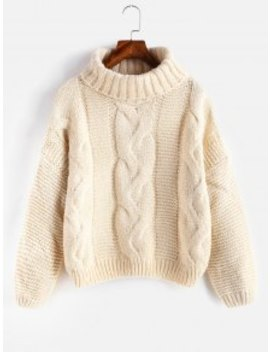 Drop Shoulder Cable Knit Turtleneck Chunky Sweater   Warm White by Zaful