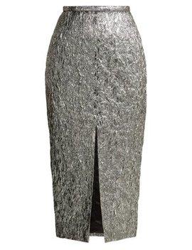 Slit Front Metallic Bouclé Foil Effect Midi Skirt by Rochas