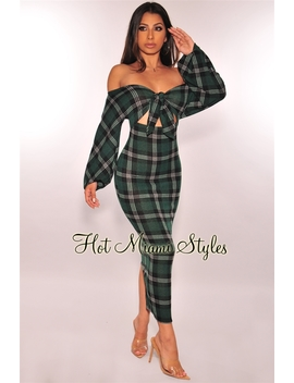 Hunter Green Plaid Tie Up Off Shoulder Sweater Dress by Hot Miami Style