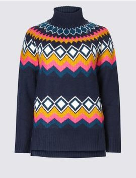 Fair Isle Roll Neck Jumper by Marks & Spencer