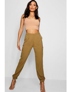 Woven Twill Pocket Combat Trouser by Boohoo