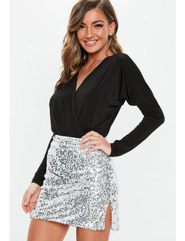 Petite Silver Sequin Mini Skirt by Missguided