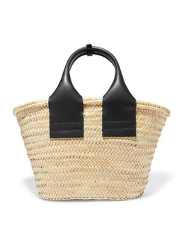 Cistell Leather Trimmed Straw Tote by Hereu