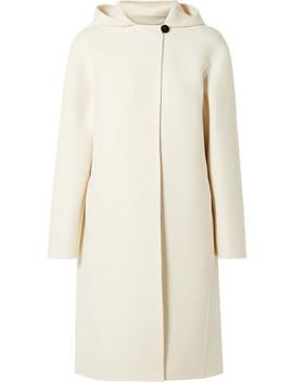 Hooded Wool Blend Felt Coat by Theory
