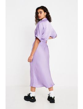 Uo Lilac Satin Bias Cut Midi Skirt by Urban Outfitters