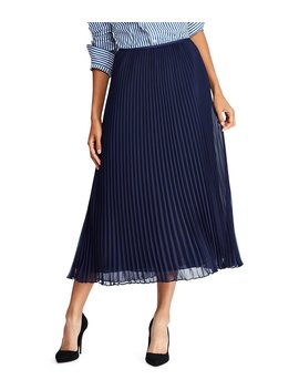 Micro Pleated Georgette Midi Skirt by Polo Ralph Lauren