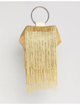 Asos Design Beaded Fringe Grab Handle Clutch Bag by Asos Design