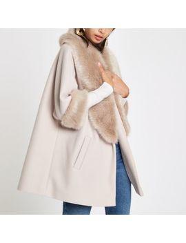 Cream Faux Fur Trim Swing Coat by River Island