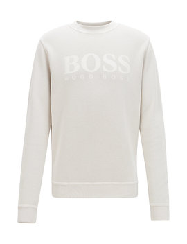 Relaxed Fit French Rib Sweatshirt With Transparent Logo by Boss