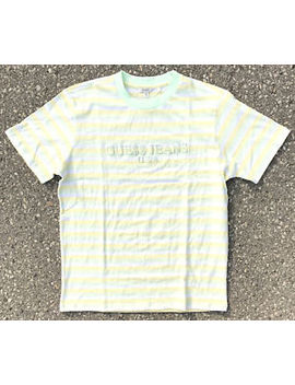 Guess X Asap Rocky 'ice Cream & Cotton Candy' Green Yellow Stripes T Shirt by Guess X Asap Rocky