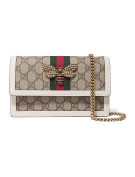 Queen Margaret Embellished Leather Trimmed Coated Canvas Shoulder Bag by Gucci