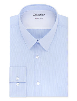 X Men's Extra Slim Fit Thermal Stretch Performance Stripe Dress Shirt by Calvin Klein