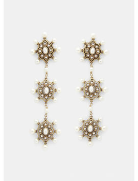Pearl Embellished Drop Earrings In Gold by Gucci
