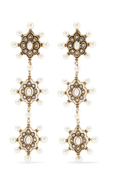 Gold Tone Faux Pearl And Crystal Earrings by Gucci