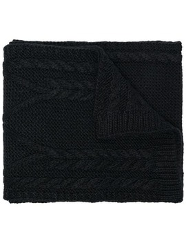 Black Woven Wool Scarf by Moncler